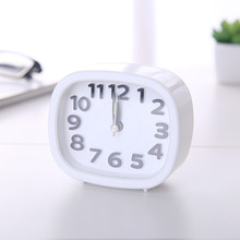 Fashion Square Small Bed Alarm Clock Transparent Case Compact Digital Creative Cute Student Desk Table