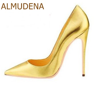 ALMUDENA Women Sexy Nude Black Red Pink Patent Leather Pointed Toe Shoes Stiletto Heels Slip-on Shallow Dress Pumps Wedding Shoe sexy lace blade heels pumps pointed toe red black mixed colors slip on wedding dress shoes women thin heels night club shoes