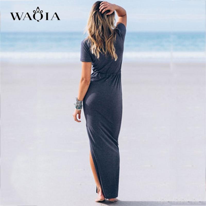 WAQIA Women Dress Personality Slender Waist Line Pencil Maxi Dress Short  Sleeve Tie Waist Pencil Long Dress Casual Slit Vestido-in Dresses from  Women s ... abc47fe23