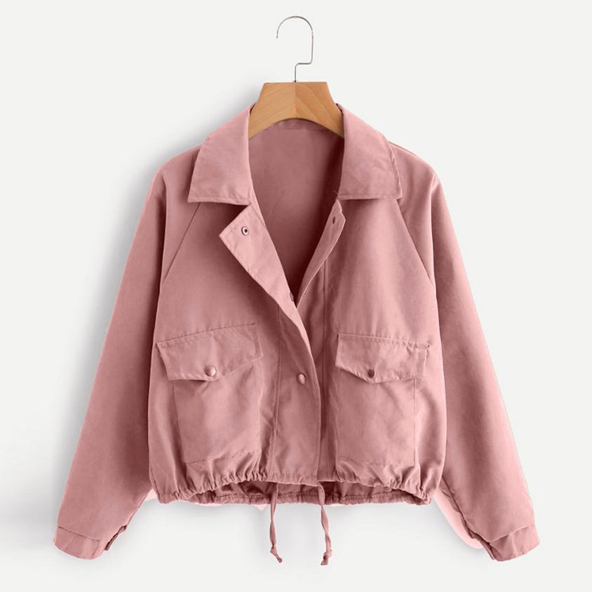 Femmes Automne De Mode veste Courte Rose Bouton Manteau Poche Polyester Veste Cardigan TW Femmes mode Manteau Pourrait dropshopping