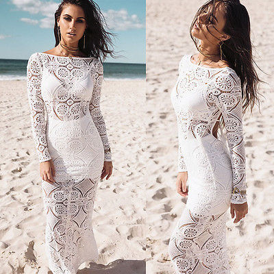 Sexy Ladies Long Dress Lace Sundress Evening Party Dresses Long Sleeve  White Summer Costume Lace d60bf1784305
