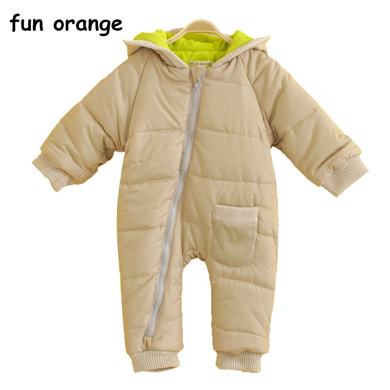 Fun Orange Baby Jumpsuits Boys Girls Overalls Baby Rompers Duck Down Jumpsuit Real Fur collar Children Outerwear Kids Snowsuit 2016 winter boys ski suit set children s snowsuit for baby girl snow overalls ntural fur down jackets trousers clothing sets