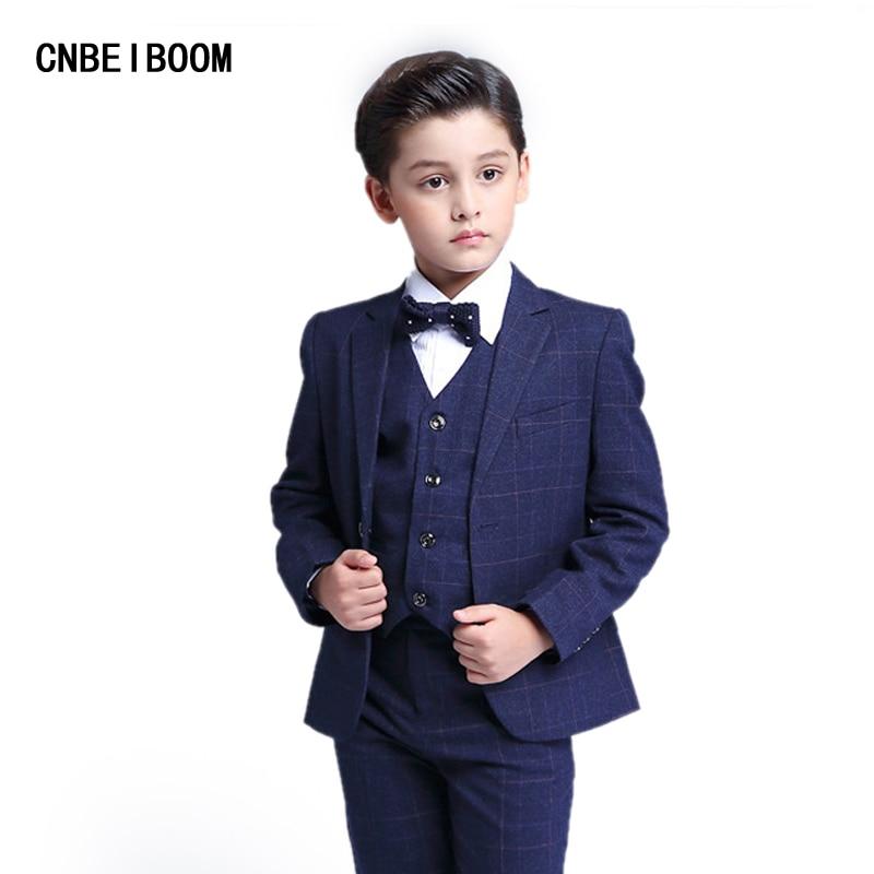 Children Suit Clothing Sets Boys Wedding Party Kids Blue