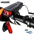 Велосипедный светильник XM-L T6  светодиодный  с солнечной панелью/USB-зарядкой  велосипедный налобный фонарь 2 в 1  велосипедный звонок  перезар...