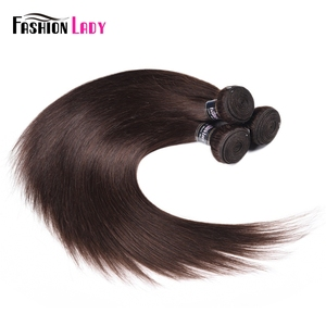 Image 4 - Fashion Lady Pre colored Malaysian Straight Hair Bundles Dark Brown Color #2 Human Hair Extension 3/4 Bundle Per Pack Non remy
