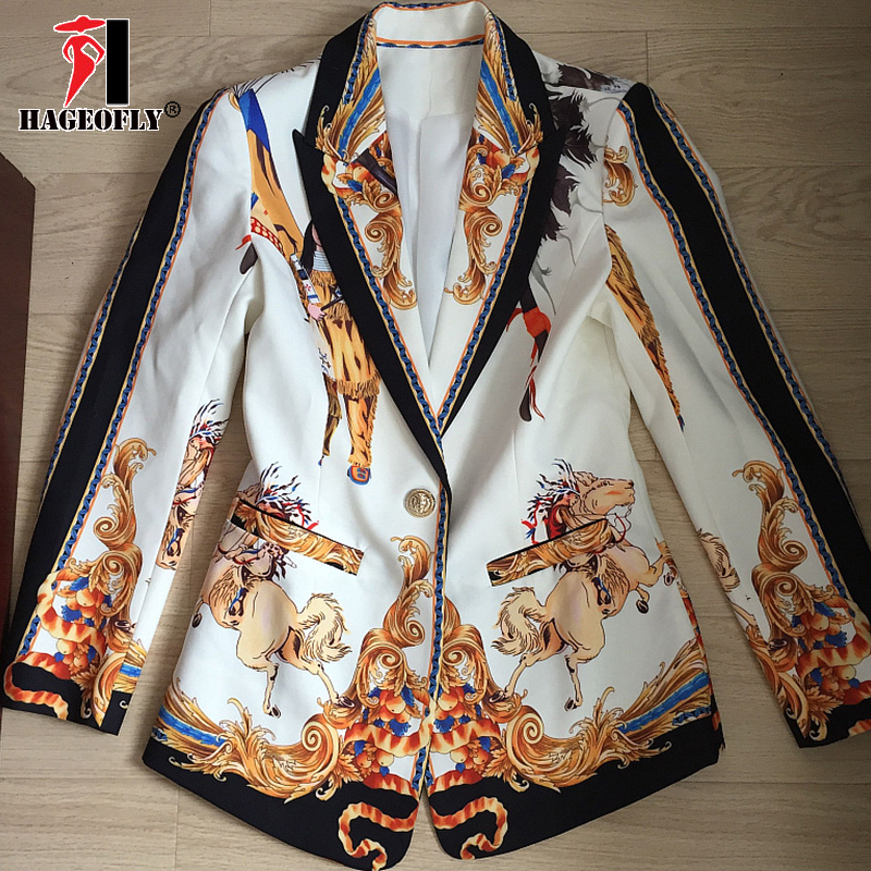 High Street Two Pieces Set Blazer With Nine Pants Retro Print Lion Single One Button Coat Ladies Runway Party Women's Suit Cloth