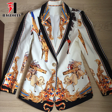 High Street Two Pieces Set Blazer with Nine Pants Retro Print Lion Single One Button Coat Ladies Runway Party Womens Suit Cloth