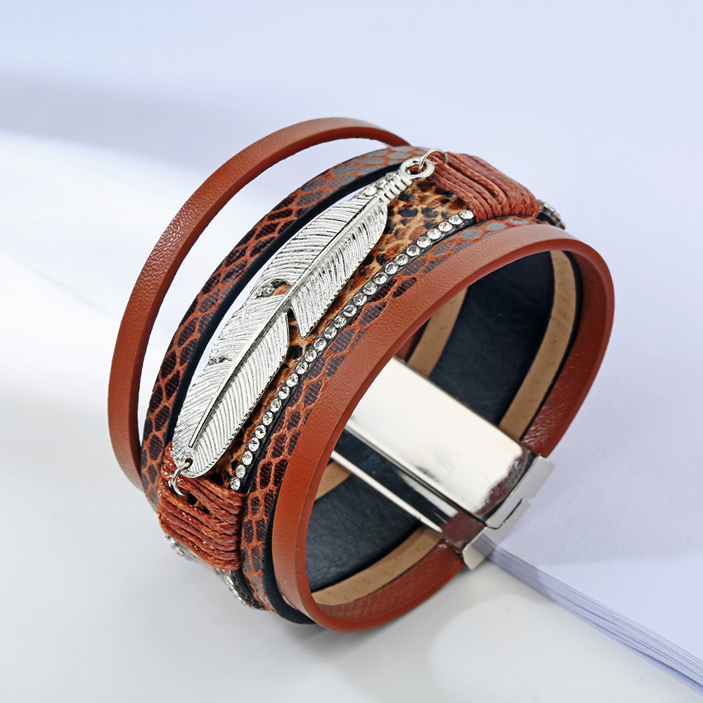 17 Fashion Alloy Feather Leaf Wide Magnetic Leather Bracelets & Bangles Multilayer Wrap Bracelets for Women Men Jewelry 5