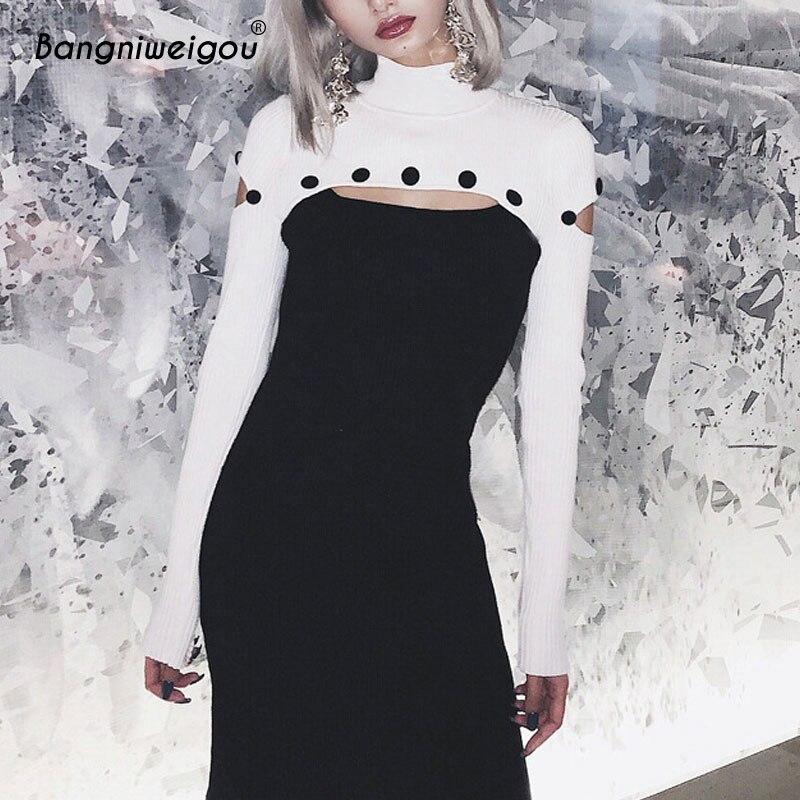 Bangniweigou goujon Pin Rivet découpé Goth robe femmes col roulé à manches longues noir Bandage Mini robe pour fête automne robe 2019