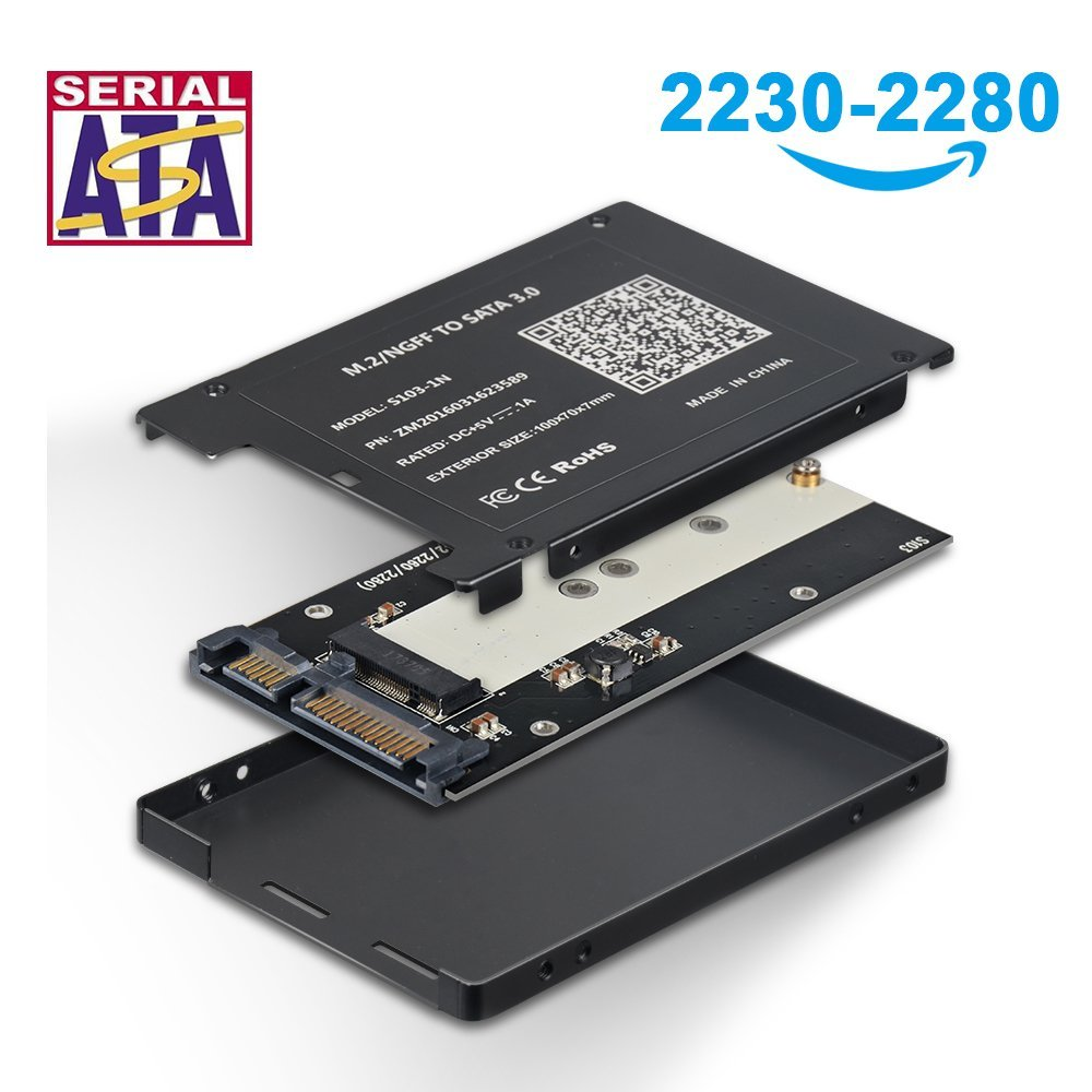 M.2 to SATA Adapter Card B+M Key NGFF SSD to 2.5 Inch SATA III 6Gbps SSD Case Adapter For Win 10 / 8 / 7 / XP Mac