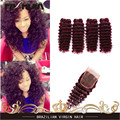 sexy brazilian kinky curly hair 5pcs lot 8-30inch brazilian deep wave human hair 99j bohemian wine red 4 bundles With Closure