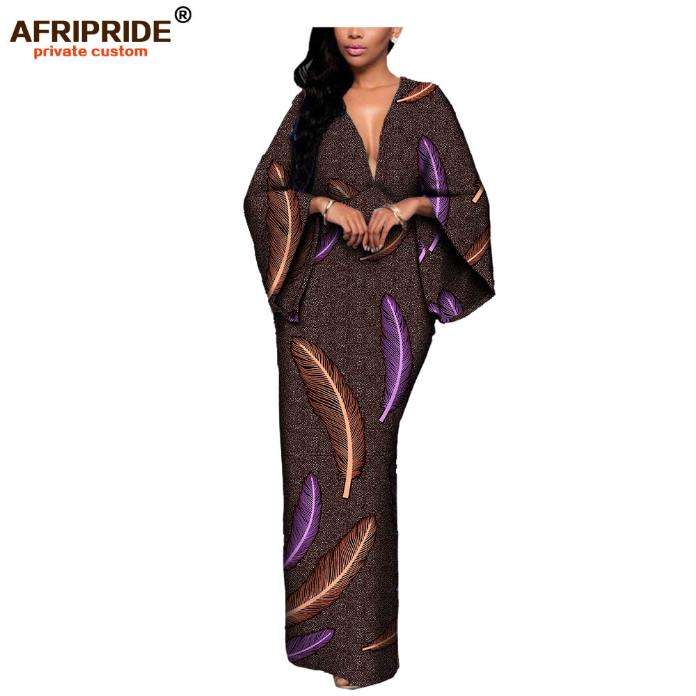 18 autumn sexy women dress AFRIPRIDE private custom flare sleeve V neck font and back ankle