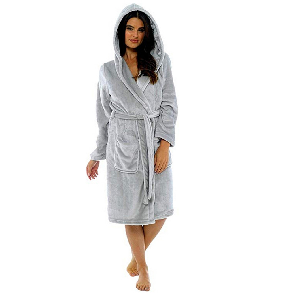 Women Winter Plush Lengthened Shawl Bathrobe Home Clothes Long Sleeved Robe Coat Bathrobe Women Peignoire Femme Free Shipping