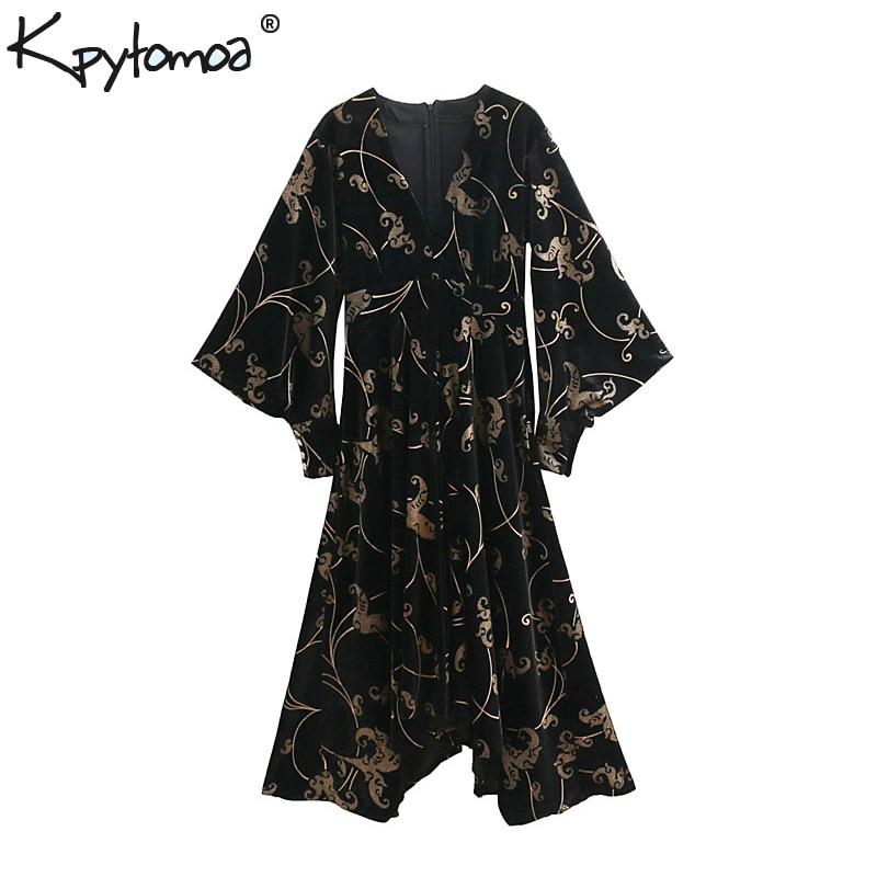 Vintage Chic Floral Velours Asymétrique Midi Robe Femmes 2018 Mode V Cou Kimono Manches Plissée Robes Casual Robes Mujer