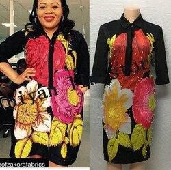 3 größen 2018 Afrikanische Kleider Für Frauen Stickerei Afrikanische Print Maxi Sommer Kleid Dashiki Kleid Knie-länge rock Africaine femme