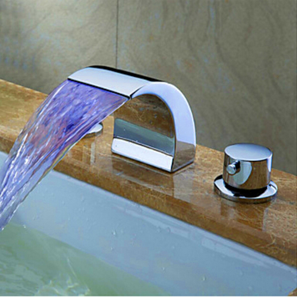 Uythner Chrome Brass LED Waterfall Bathroom Basin Faucet Dual Handles Vanity Sink Mixer Tap