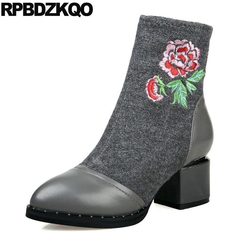 Embroidery High Heel Stud Gray Short Embroidered Slip On Women Ankle Boots Medium Fall Chunky Shoes Genuine Leather Patchwork