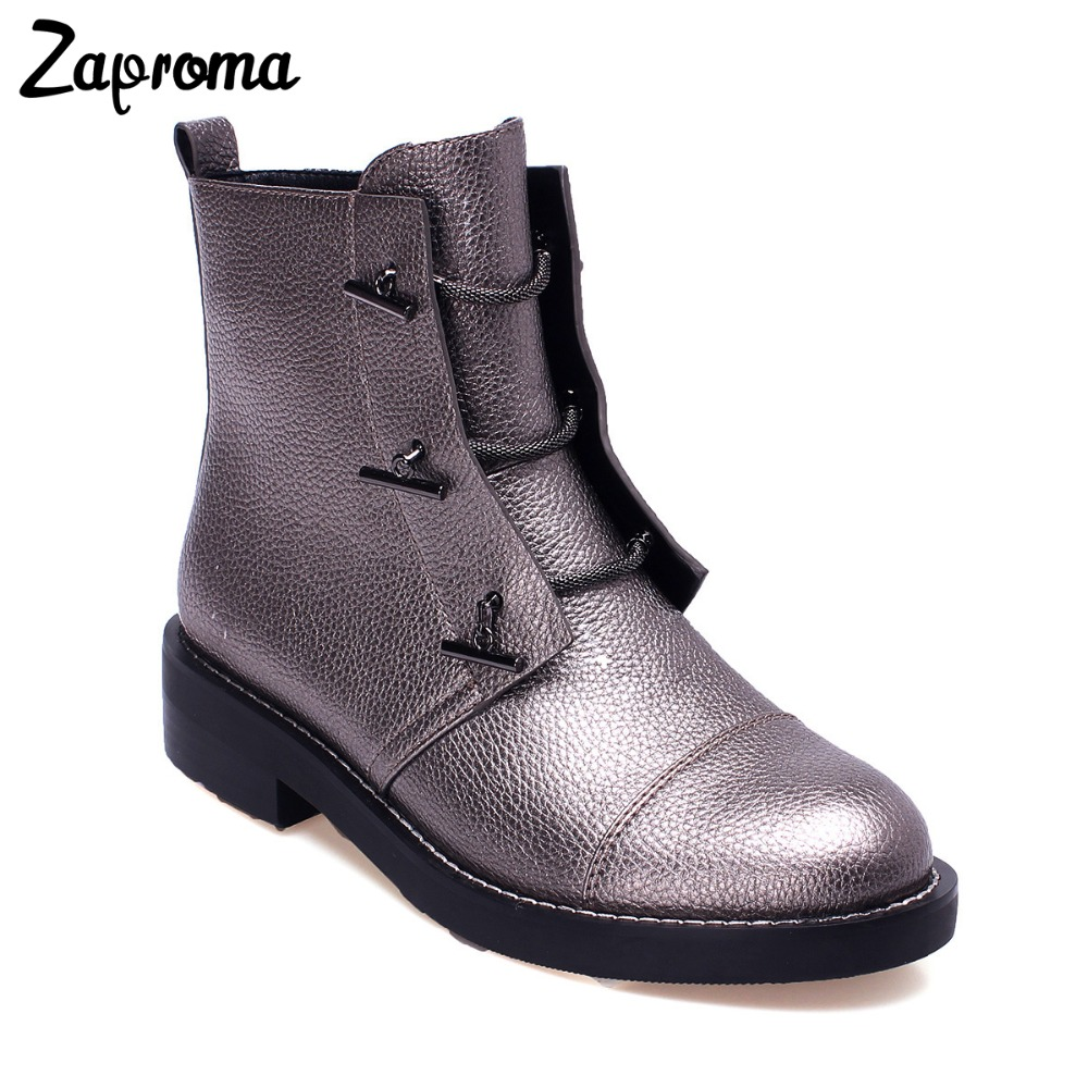 Silver Gray Low Heel Women Bling Ankle Boots High Top Lace Up Gothic Autumn Winter Short Plush Shoes 2018 Metal Decoration Chain все цены