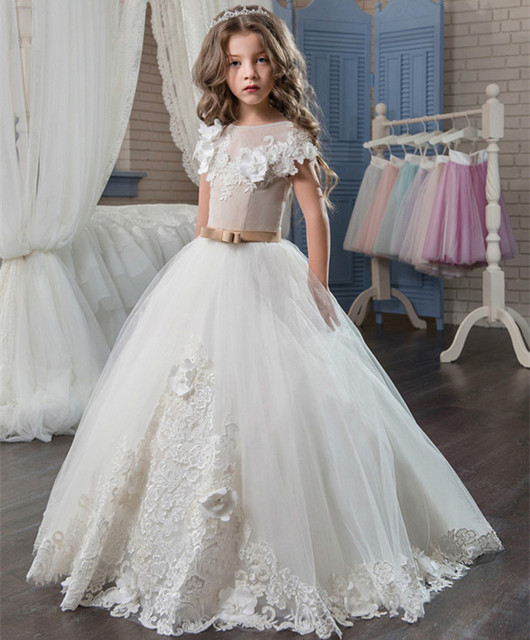 66e35e4149 New Customized Flower Girl Dress for Wedding Lace 3D Appliques First  Communion Dress Ball Gown Size 2-14Y