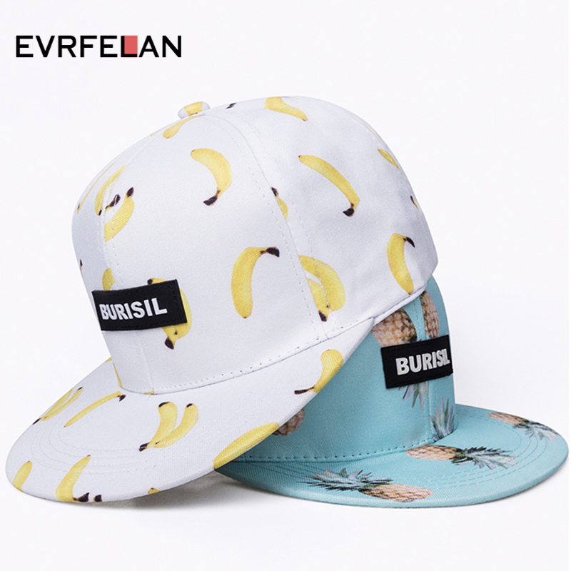 2018 New Fruit pattern Snapback Adult & Kids Fashion Caps Children Baseball Hats For Boys Girls Sun Hip Hop Snapback Caps
