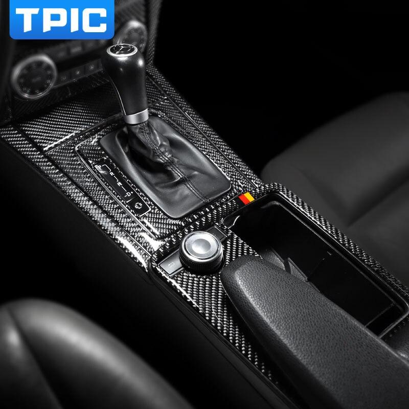Car interior decoration moulding Carbon Fiber Central Control Panel decal Stickers For mercedes w204 C class 07-13 accessories maserati granturismo carbon spoiler