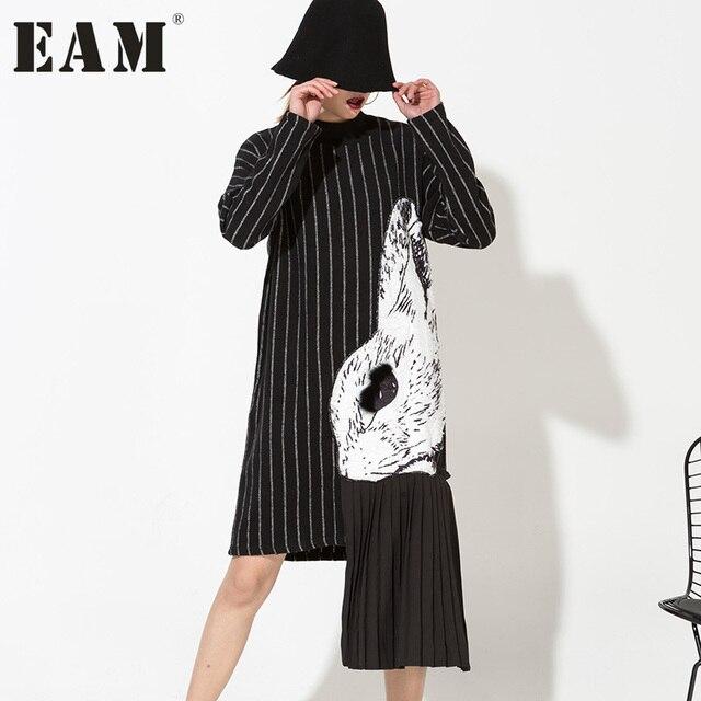 [EAM] Новинка 2017 Весна Высокий воротник Длинные рукава Черный Полосатый Сплит Совместное Платье с принтом женская мода прилив HA06981