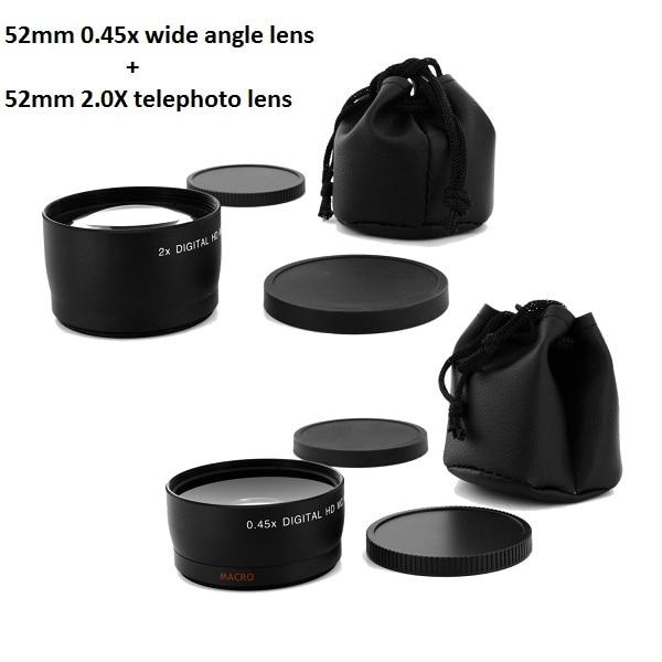 52MM 0,45x vidvinkelobjektiv och makroobjektiv + Teleobjektiv för Nikon Cannon DSLR-kameror med 52MM objektivgänga