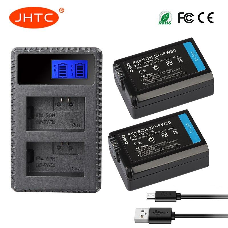 JHTC 2 unids 1080 mAh NP-FW50 NP FW50 batería Cámara + LCD cargador Dual USB para Sony Alpha a6500 a6300 a6000 a5000 a3000 NEX-3 a7R