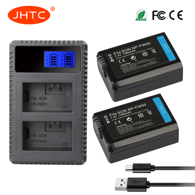 JHTC 2pcs 1080mAh NP-FW50 NP FW50 Camera Battery + LCD USB Dual Charger for Sony Alpha a6500 a6300 a6000 a5000 a3000 NEX-3 a7R