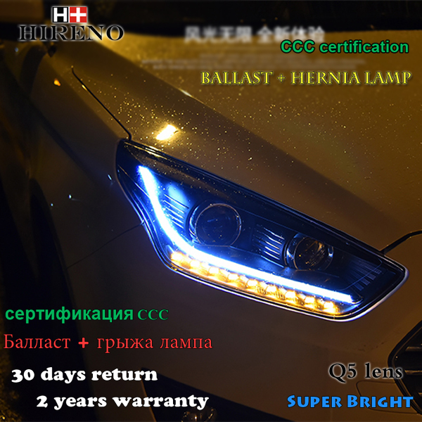 Hireno Headlamp for 2015-2017 Ford Escort Headlight Assembly LED DRL Angel Lens Double Beam HID Xenon 2pcs 2pcs purple blue red green led demon eyes for bixenon projector lens hella5 q5 2 5inch and 3 0inch headlight angel devil demon