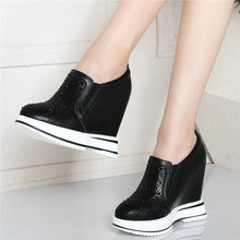 Trainers Shoes Women Genuine Leather Wedges Platform Ankle Boots Round Toe High Heel Rhinestones Pumps Punk Goth Creepers