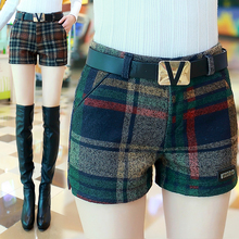 Woolen shorts female autumn and winter models 2018 new wear large wild plus size slim plaid wide leg boots
