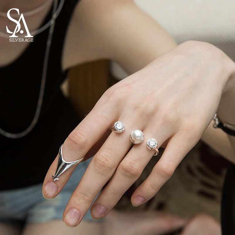 Image 2 - SA SILVERAGE 925 Sterling Silver Wedding Rings Sets for Women Fine Jewelry Round Freshwater Pearls Double Fingers Rings Womenset ringsset rings for womenset for women -