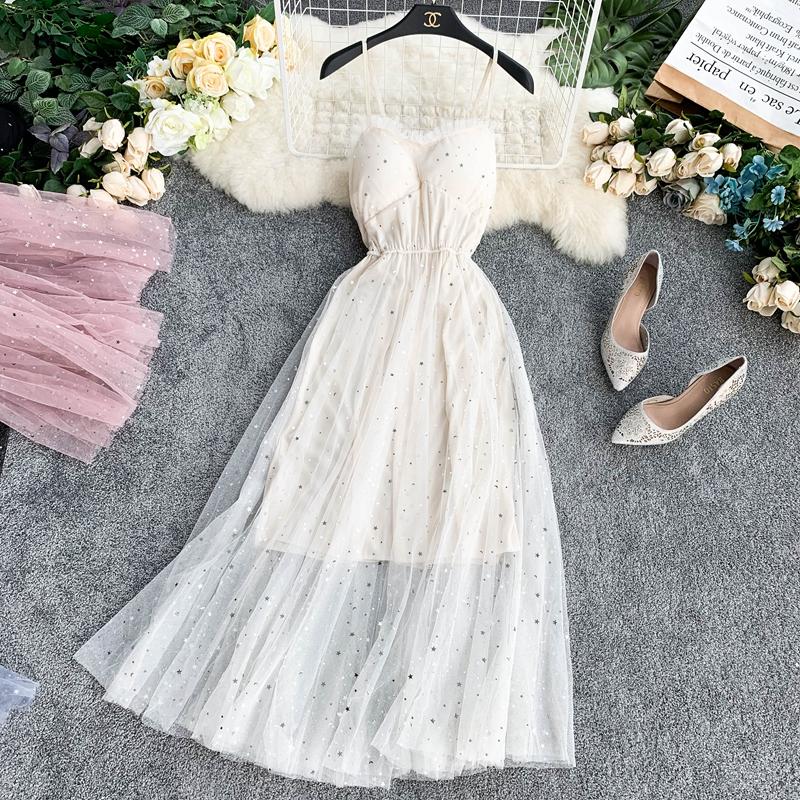 Sequins V-Neck Gauze Ruffles Mesh A-Line Dress 9