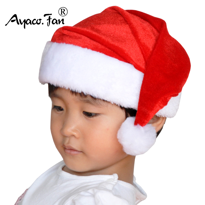 New Super Soft Christmas Hats Red and white Simple Short Plush Velvet Santa Hat Cap For Santa Claus Costume And Christmas Party