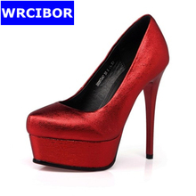 2017 NEW Woman Pumps leather Pointed toe High-heeled shoes Lady Sexy Thin heels Pumps Red, silver BRIDAL SHOES Single shoes