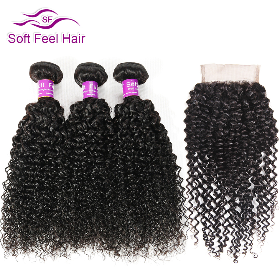 Soft Feel Hair Ombre Brazilian Kinky Curly Weave Human Hair 3/4 Bundles With Closure T1B/30 Ombre Bundles With Closure Remy Hair-in 3/4 Bundles with Closure from Hair Extensions & Wigs    3