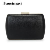 China Factory Supply Women Evening Bag Handbag Box Shape PU Clutch Fashion Black Pearl Box Clutch(C1493)