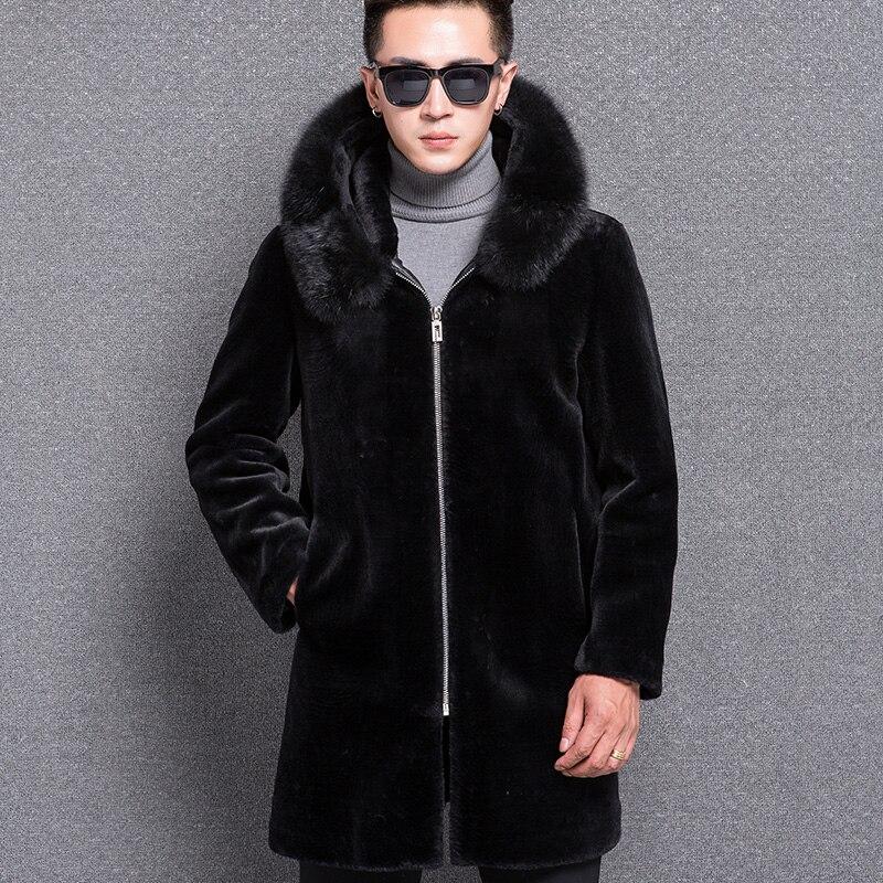 Mouton Homme À Capuche Fourrure Laine De Mode Nouveau Hiver Avec Renard Noir Manteau Hommes 1768 Mâle Vêtements Evgq6FR1