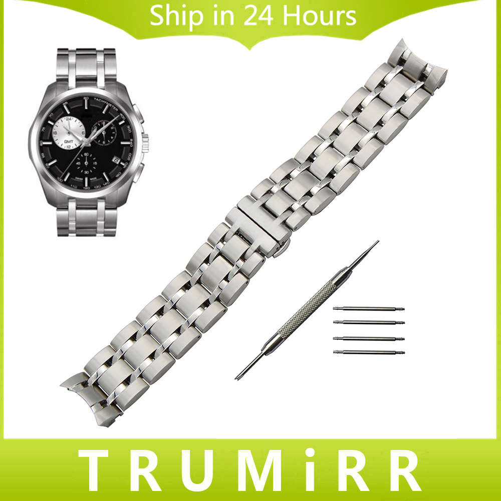23mm Stainless Steel Watchband for Tissot 1853 T035.439 / 617 Watch Band Curved End Strap Butterfly Buckle Wrist Bracelet Silver 23mm 24mm silicone rubber watch band for tissot 1853 t035 t087 men stainless steel carved pattern buckle strap wrist bracelet