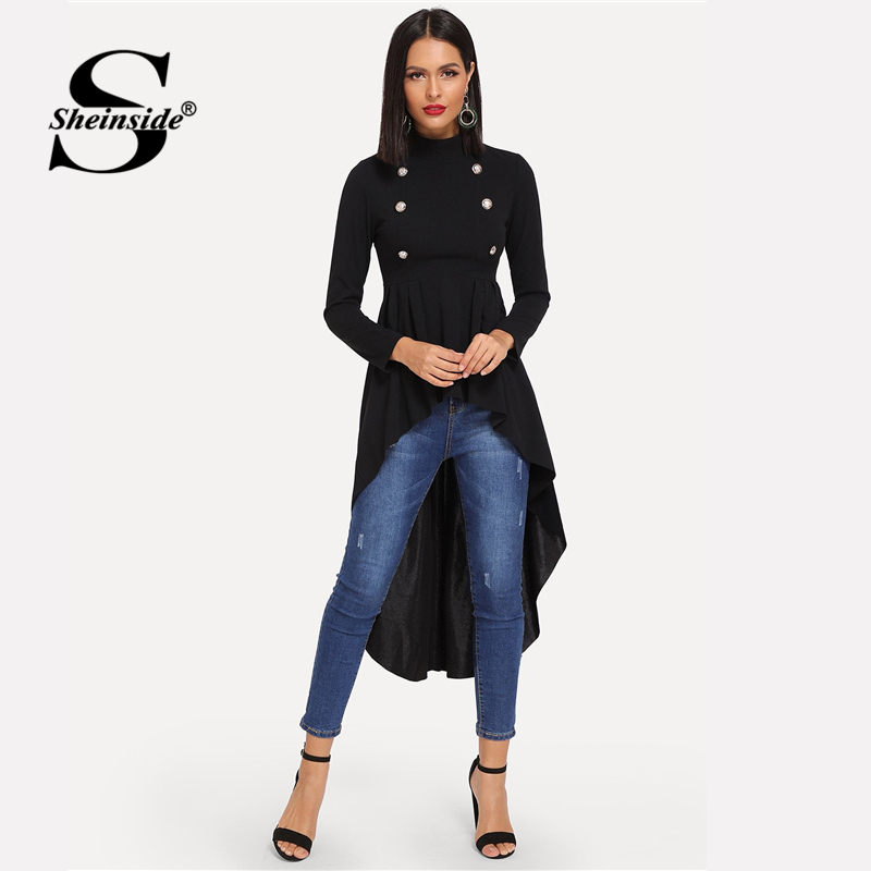 Sheinside Black Elegant   Blouse   Women Tops Mock Neck Double Breasted Front Dip Hem Top Female Long Sleeve   Shirt   Womens   Blouses