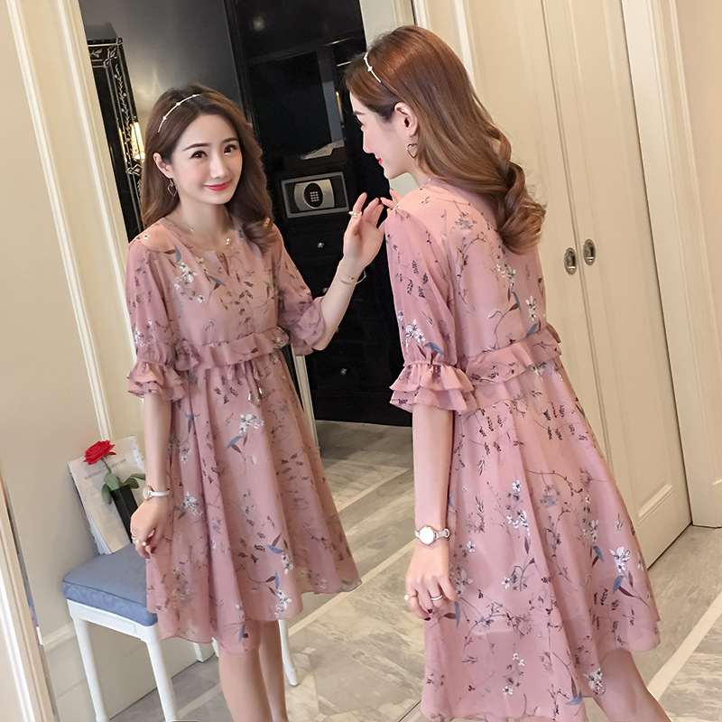 a0fea98539 Maternity dresses chiffon short-sleeved shirt spring and summer 2018 new  Korean pregnant women floral dress pregnancy clothes