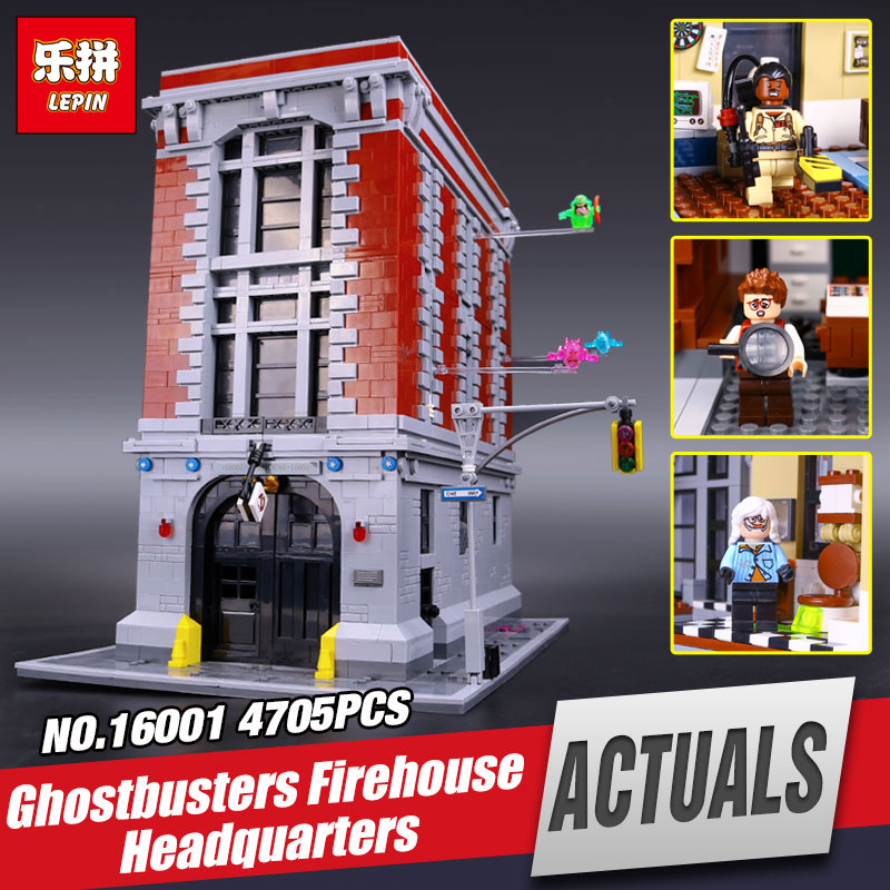 DHL LEPIN 16001 Actuals Ghostbusters Firehouse Headquarters legoing 75827 Model Building Kits Model set Toys For Children GIFTS 4695pcs lepin 16001 city series firehouse headquarters house model building blocks compatible 75827 architecture toy to children