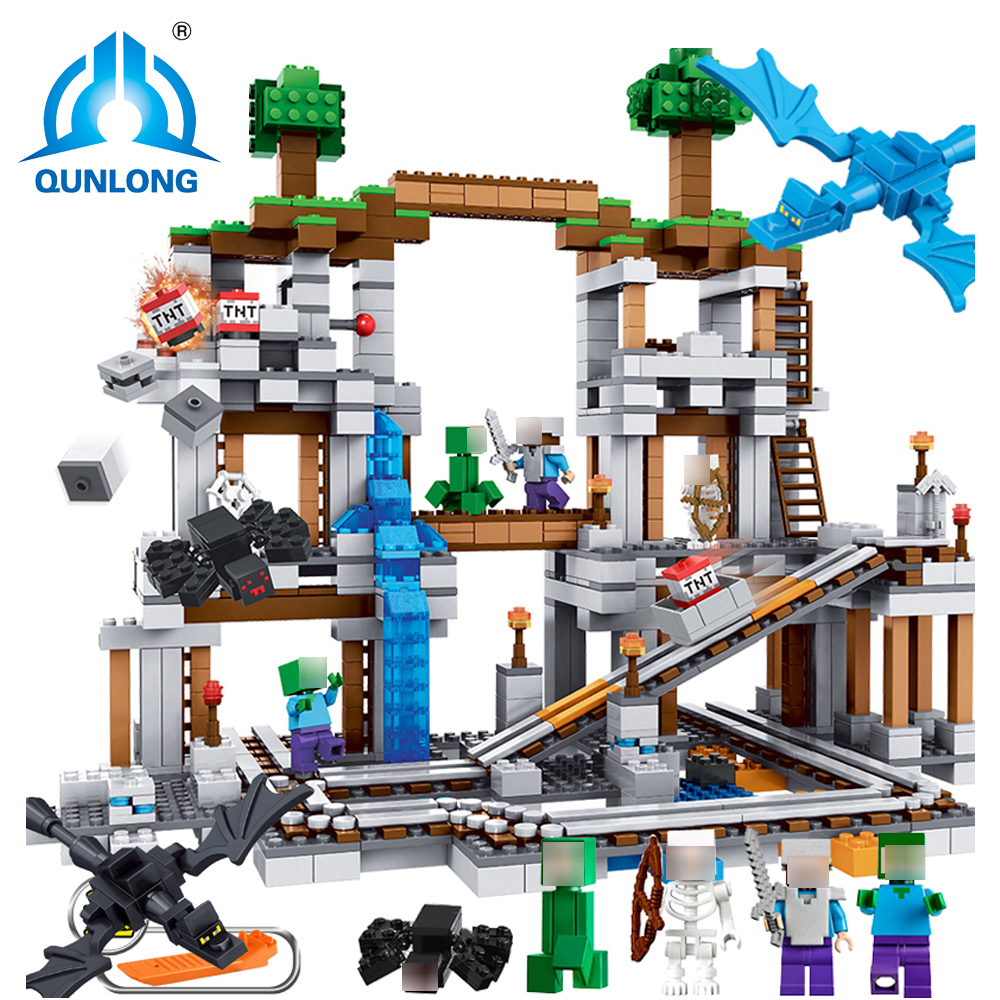 Qunlong Mine 922pcs Compatible Legoe MY WORLD Minecrafted model building Blocks set brick Action Figures Toys gift for children 259pcs new my world building blocks sets mine and workers scene blocks compatible legoinglys minecrafter toys for childrens