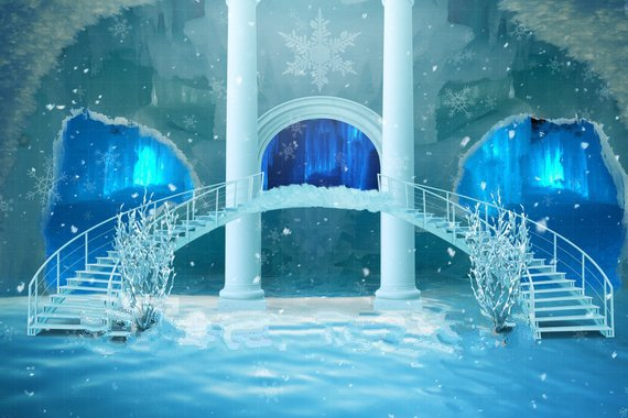 6x3m Polyester Frozen Inspired Elsa Ice Castle Staircase Arch Column backdrops6x3m Polyester Frozen Inspired Elsa Ice Castle Staircase Arch Column backdrops