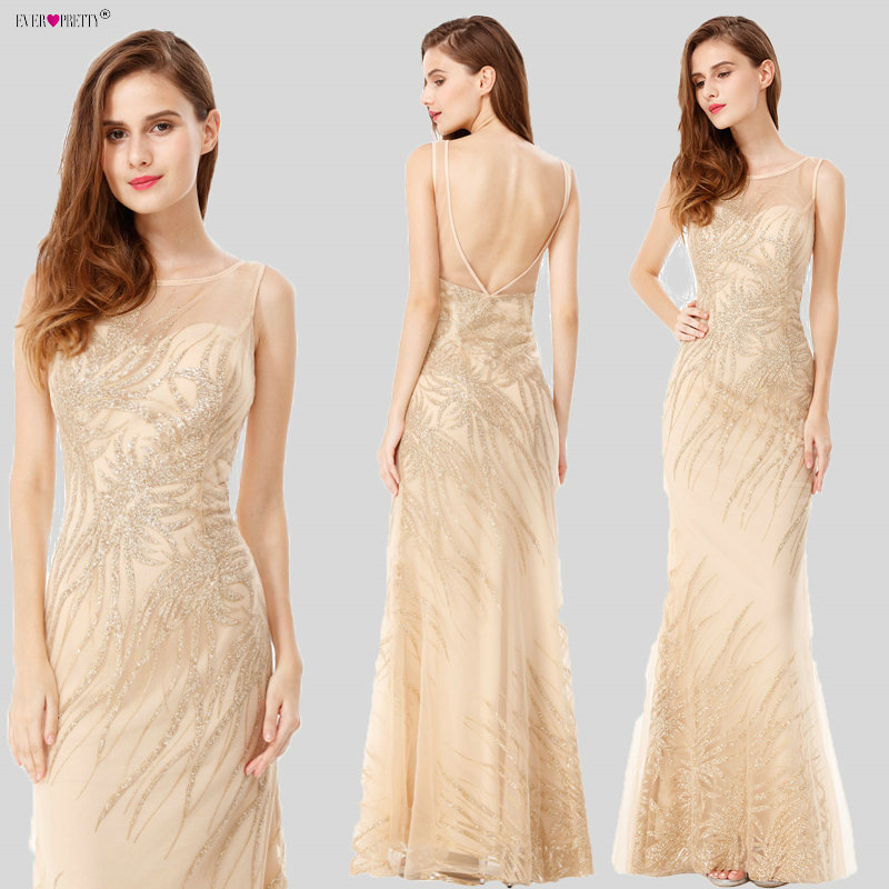 Sempre Bonita Lantejoulas Beading Vestidos de Noite Da Sereia Formal Longo Prom Vestido de Festa 2018 Novo Estilo de Ouro Sexy Vestidos de Festa À Noite