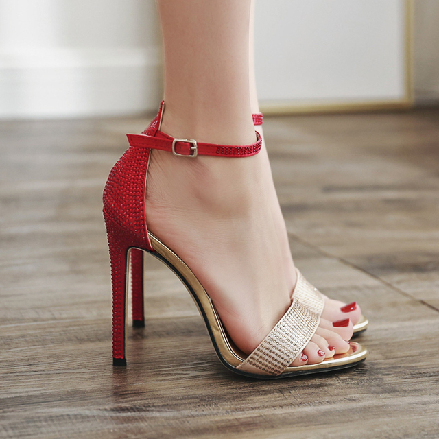 324a00aceea733 Woman Summer Sexy Rhinestone Sandals 2018 New Women Shoes Red 11cm High  Heel Ankle Strap Heels