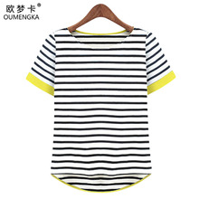 OUMENGKA New Women Tops O-Neck T-Shirt Short Sleeve Striped T Shirts Tees Blusas Femininas Free Shipping M- XXXXL Plus Size
