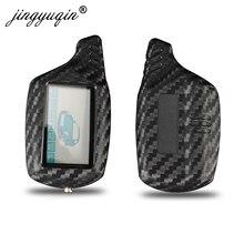 Jingyuqin B9 LCD 알람 탄소 실리콘 키 커버 케이스 Starline B91 B6 B61 A91 A61 C9 V7 재규어 원격 2 웨이 알람 키 체인