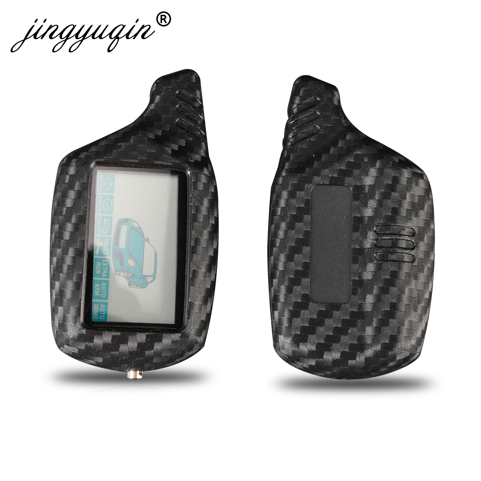 Jingyuqin B9 LCD Alarm Carbon Silicone Key Cover Case For Starline B91 B6 B61 A91 A61 C9 V7 Jaguar Remote 2 Way Alarm Keychain